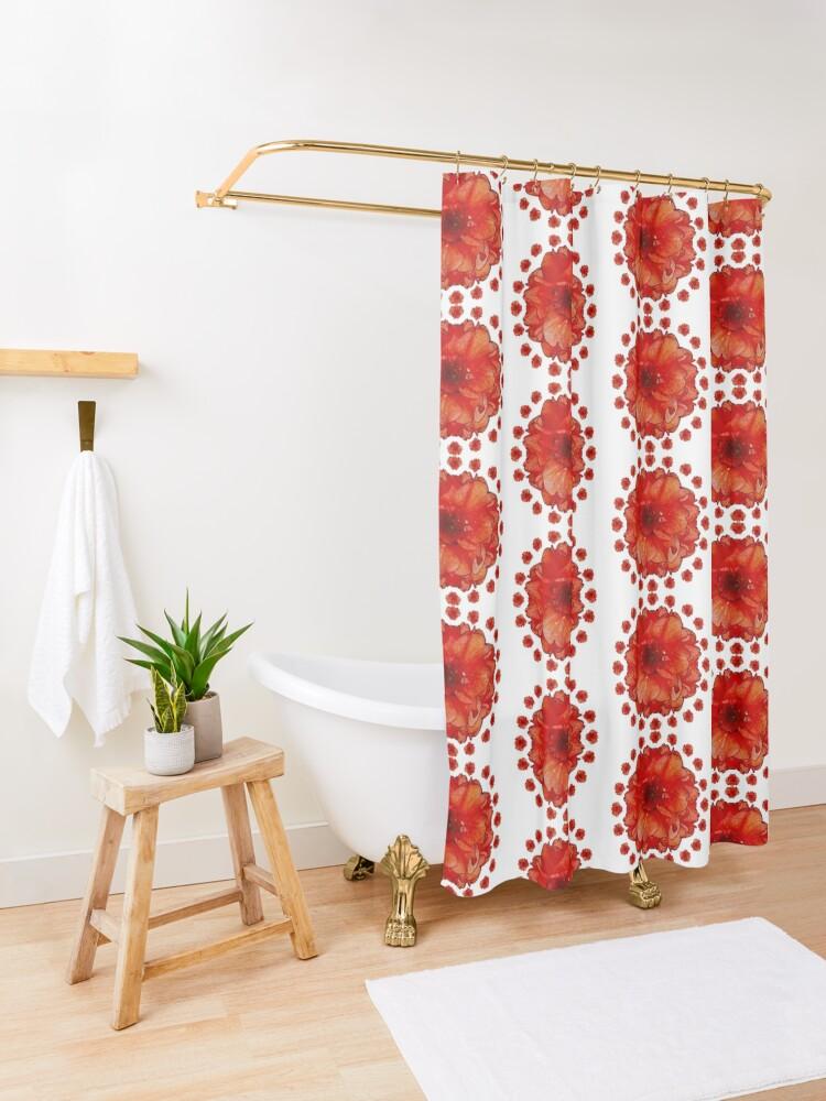 Alternate view of Gardener Gift - Poppy Field Mandala - Round Floral Art - Red Flower Present Shower Curtain