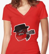 Peppered Women's Fitted V-Neck T-Shirt