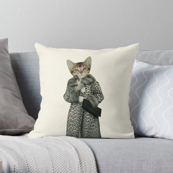 Kitten Dressed as Cat Throw Pillow