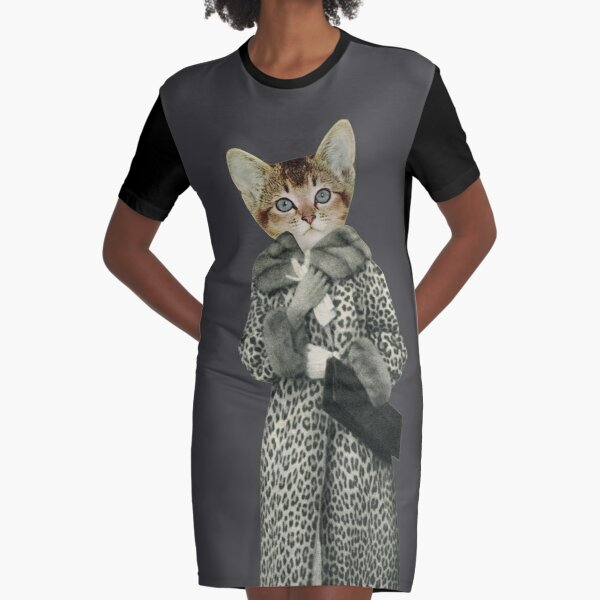Kitten Dressed as Cat Graphic T-Shirt Dress