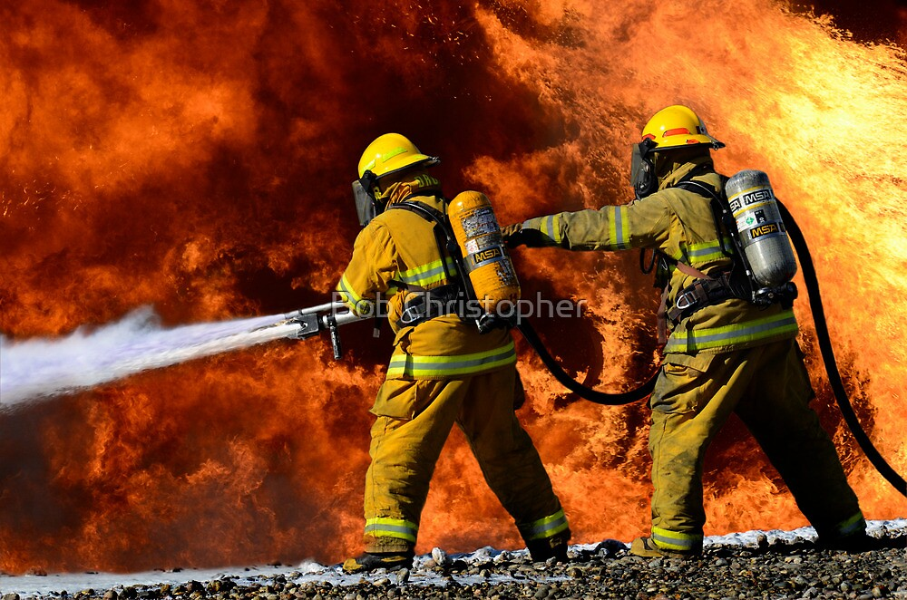 Quot Firefighters In Action Quot By Bob Christopher Redbubble