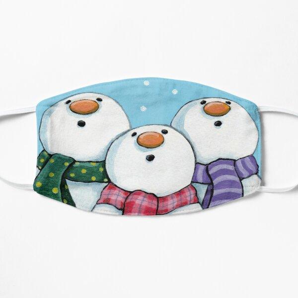 Three Snowmen Wearing Scarfs - Winter Wonderment Flat Mask