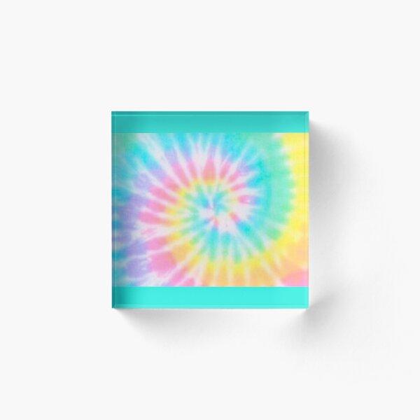 Pastell Regenbogen Tie Dye Muster Acrylblock