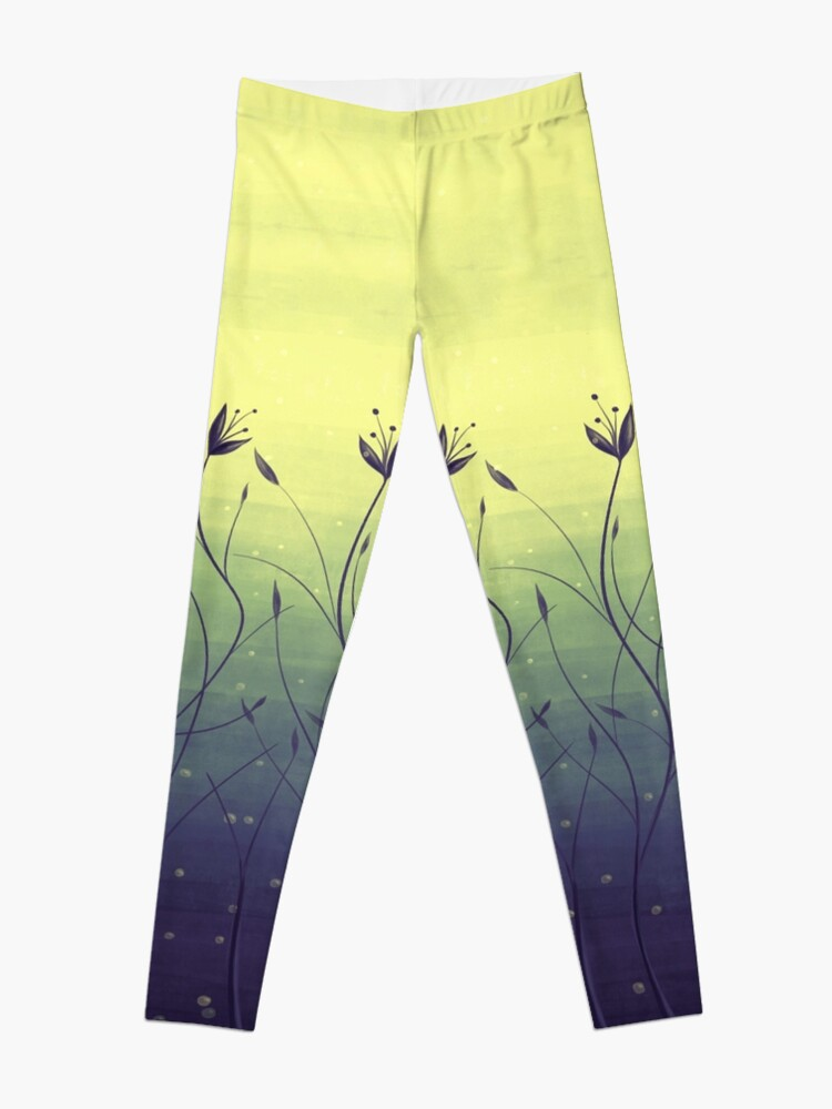 Alternate view of Water Plants In Green Lake Abstract Botanical Art Leggings