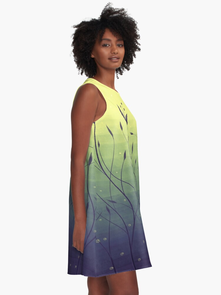 Alternate view of Water Plants In Green Lake Abstract Botanical Art A-Line Dress