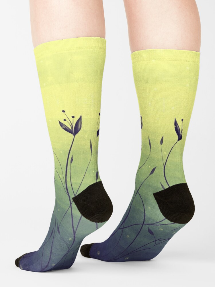 Alternate view of Water Plants In Green Lake Abstract Botanical Art Socks