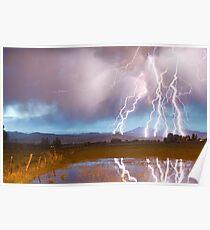 Lightning Striking Longs Peak Foothills 4 Poster
