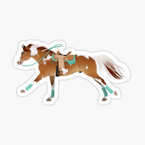 Red Dun Paint Barrel Racer - Equine Rampaige Sticker