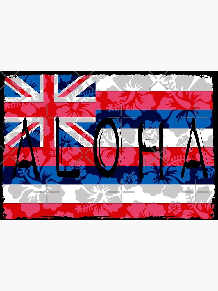 Aloha Floral Hawai'i Flag by Hawaii Nei All Day by HawaiiNeiAllDay