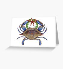 Blue Crab Wreath Greeting Card