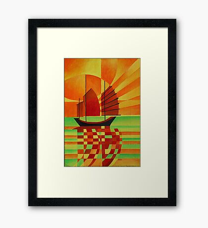 Junk on Sea of Green Cubist Abstract Framed Print