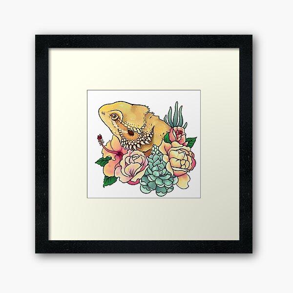 Pastel Bearded Dragon Framed Art Print