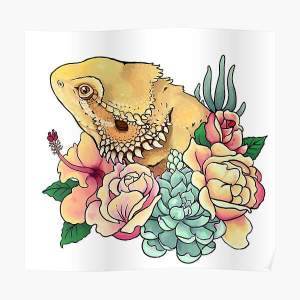 Pastel Bearded Dragon Poster