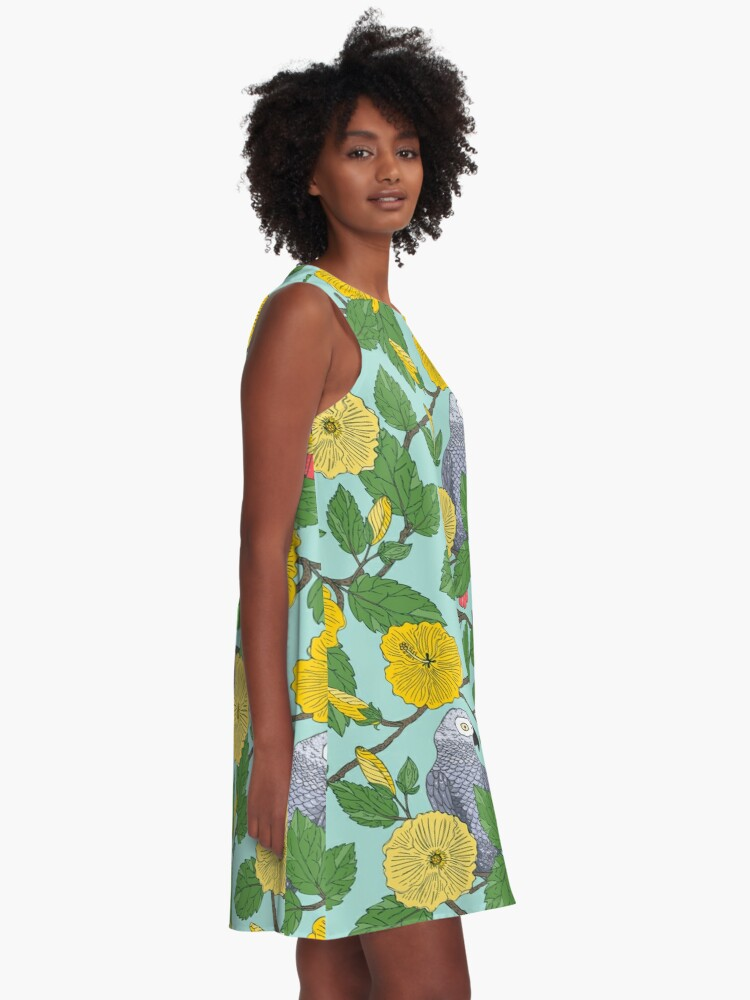 Alternate view of African Grey Parrots and Yellow Flowers A-Line Dress