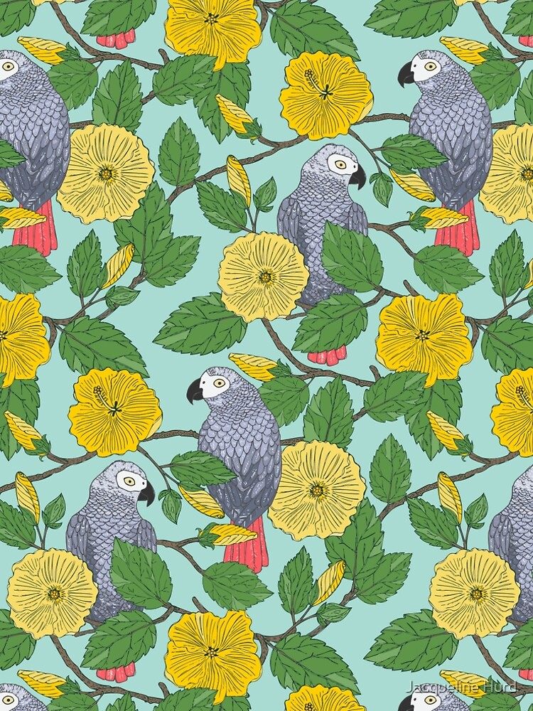 African Grey Parrots and Yellow Flowers by JMHurd