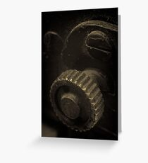 Lens Reversal of old camera part sepia toned 1 Greeting Card