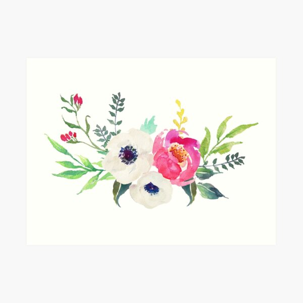 Anemone Peony Watercolor Bouquet Art Print