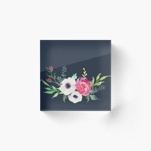 Anemone Peony Watercolor Bouquet Acrylic Block