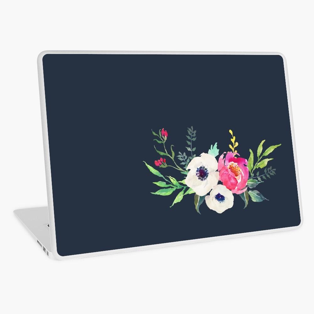 Anemone Peony Watercolor Bouquet Laptop Skin