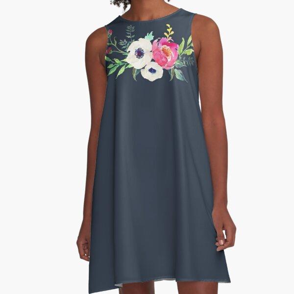 Anemonen-Pfingstrose-Aquarell-Blumenstrauß A-Linien Kleid