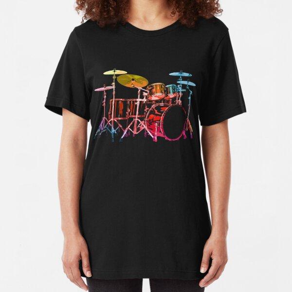 Drum Set (bold digital colors) Slim Fit T-Shirt