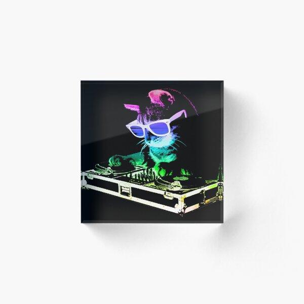 HOUSE CAT (Rainbow DJ Kitty) Acrylic Block