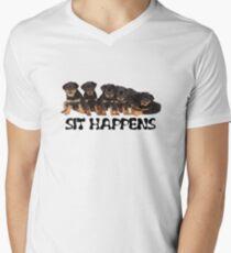 Sit Happens For Six Rottweiler Puppies Men's V-Neck T-Shirt