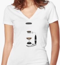 Coffee Monkey - Syphon Coffee Women's Fitted V-Neck T-Shirt