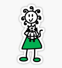 The girl with the curly hair - green sticker Sticker