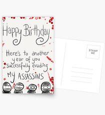 Assassins Birthday Card. Postcards