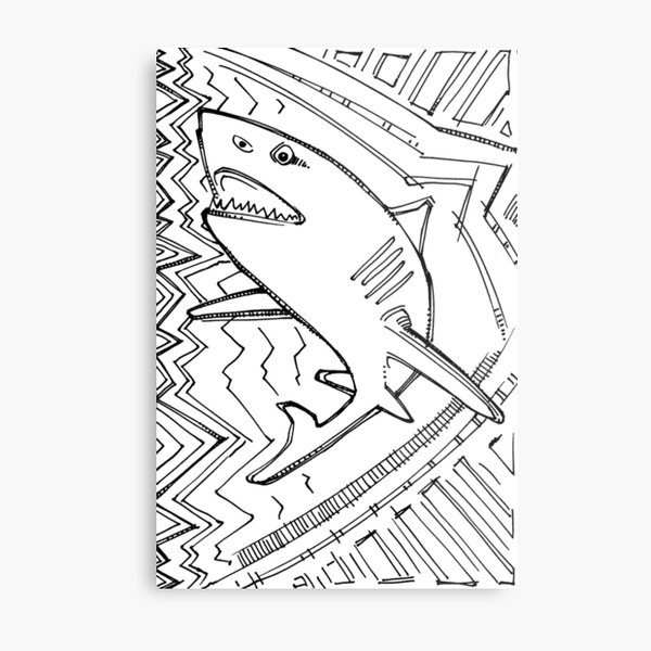 Great White Shark, Coloring Book Page Metal Print