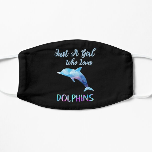 Just A Girl Who Loves Dolphins Rainbow Watercolor Cute Dolphin Design Mask