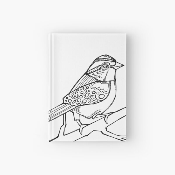 White-throated Sparrow, Coloring Book Page Hardcover Journal