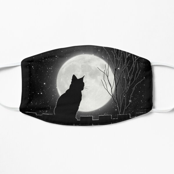 Silent night Cat looking at the full moon Flat Mask