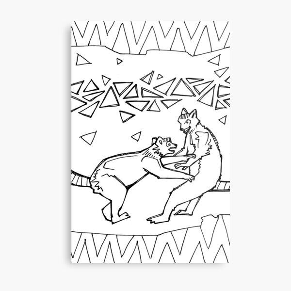 Ring-tailed Lemur, Coloring Book Page Metal Print