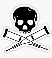 Skull with crutches. Sticker