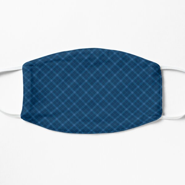 Tartan / plaid pattern: navy blue Flat Mask