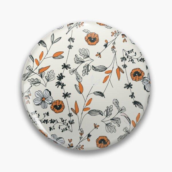 Orange Flower Pattern Pin