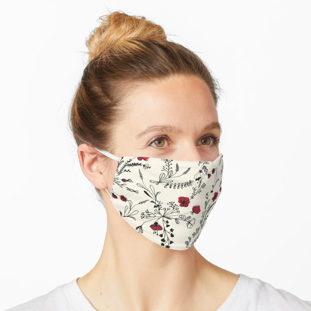 Red Flower Pattern Mask