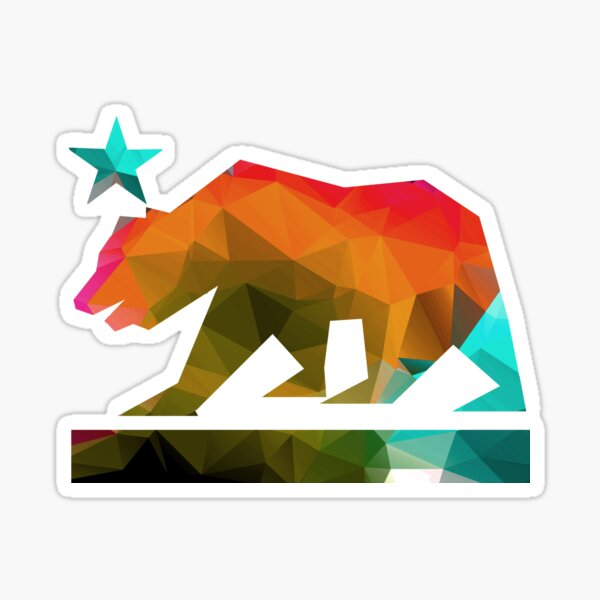 California State Flag Bear (fractal angles) Sticker