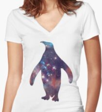 galaxy penguin Women's Fitted V-Neck T-Shirt