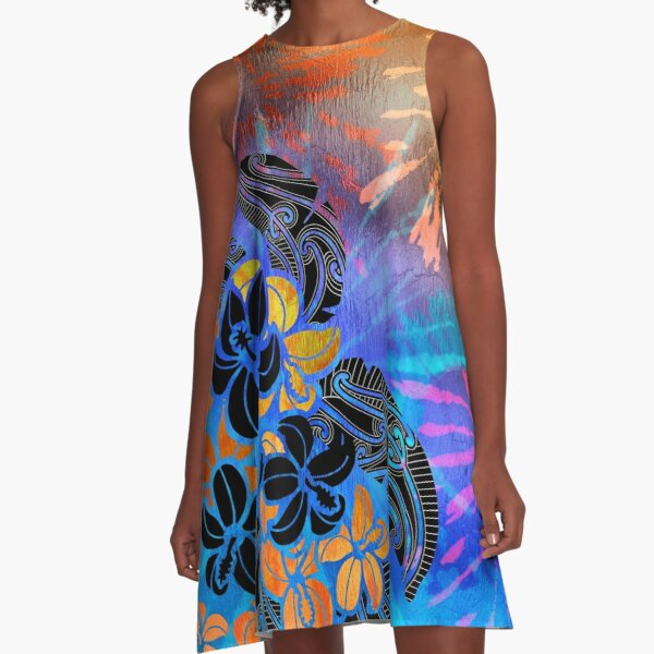 Hibiscus Tie Dye Shimmer A-Line Dress