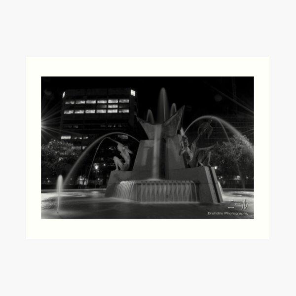 Victoria Square Water Fountain Art Print