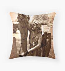 Sepia Art - Angel at the Cross Throw Pillow