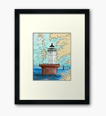 Solomons Lump Lighthouse MD Nautical Chart Peek Framed Print