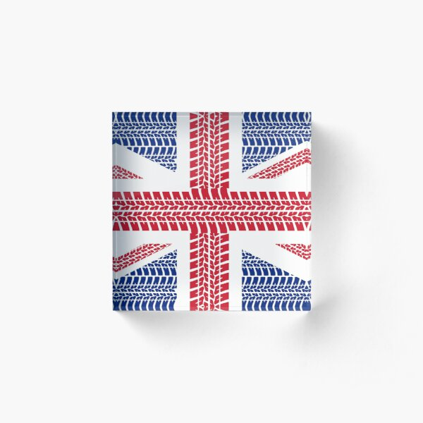 Tire track Union Jack British Flag Acrylic Block