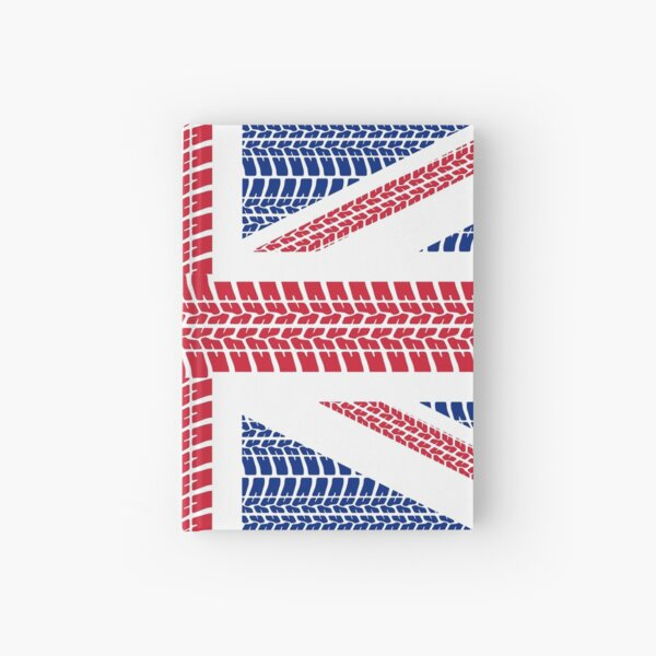 Tire track Union Jack British Flag Hardcover Journal