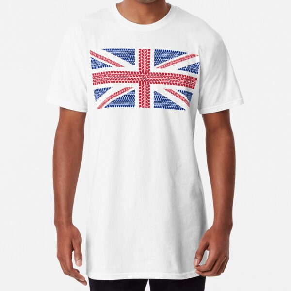 Tire track Union Jack British Flag Long T-Shirt
