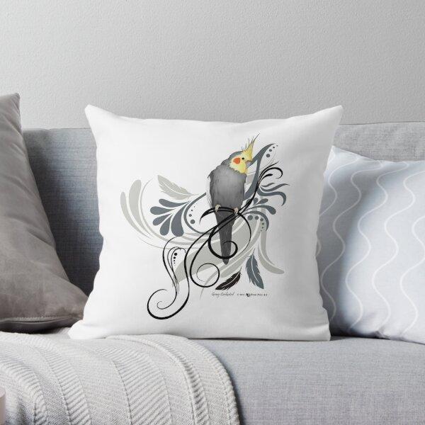Gray Cockatiel Throw Pillow
