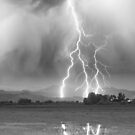 Lightning Striking Longs Peak Foothills 6CBW by Bo Insogna